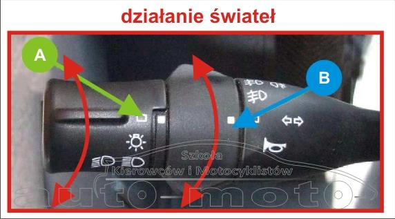 dźwignia zespolona świateł drogowych działanie świateł zewnętrznych AUTOBUS AUTOSAN A10-10T.07.01 A1010T egzamin na prawo jazdy kat. D