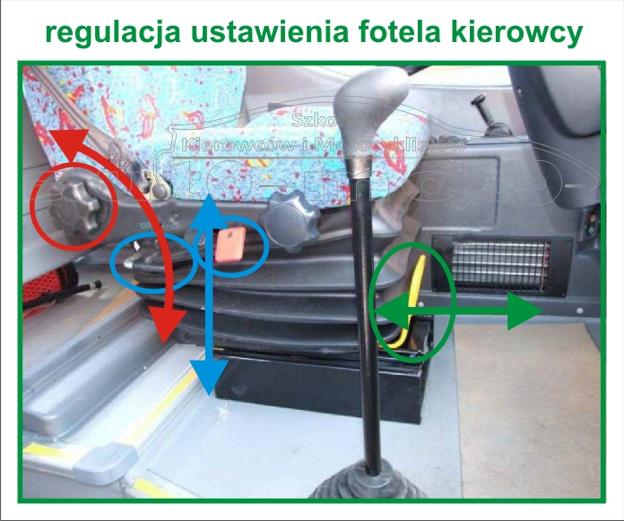 regulacja ustawienie fotela kierowcy  AUTOBUS AUTOSAN A10-10T.07.01 A1010T egzamin na prawo jazdy kat. D