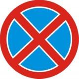 B-36 Zakaz zatrzymywania się. Oznacza zakaz zatrzymywania pojazdu. Jeżeli zakaz wyrażony znakiem B-36 nie jest uprzednio odwołany przez taki sam znak z tabliczką T-25c lub znak B-35, to obowiązuje do najbliższego skrzyżowania