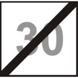 BT-2 Koniec ograniczenia prędkości. Oznacza koniec zakazu przekraczania prędkości określonej na znaku liczbą kilometrów na godzinę przez kierującego tramwajem jadącego torem, przy którym jest on umieszczony