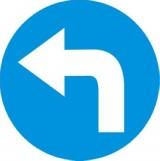 C-4 Nakaz jazdy w lewo za znakiem. Zobowiązuje kierującego do jazdy w lewo za znakiem; znak ten może być umieszczony na przedłużeniu osi drogi (jezdni) lub na samej jezdni. Znak obowiązuje na najbliższym skrzyżowaniu lub w miejscu, gdzie występuje możliwość zmiany kierunku jazdy