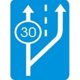 D-13 Początek pasa ruchu powolnego. Oznacza początek pasa ruchu, z którego są obowiązani korzystać kierujący pojazdami nieosiągającymi na wzniesieniu minimalnej prędkości określonej na znaku liczbą kilometrów na godzinę. Umieszczona pod znakiem tabliczka T-1a wskazuje odległość do początku pasa ruchu