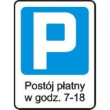 D-44 Strefa parkowania. Oznacza wjazd do strefy płatnego parkowania. W strefie zabroniony jest postój pojazdu bez wniesienia opłaty, z wyjątkiem pojazdów osób / jednostek, dla których ustalona została zerowa stawka opłaty, i postoju pojazdów komunikacji publicznej na wyznaczonych dla nich miejscach