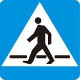 D-6 Przejście dla pieszych. Oznacza miejsce przeznaczone do przechodzenia pieszych w poprzek drogi. Kierujący zbliżając się do miejsca oznaczonego znakiem jest obowiązany zmniejszyć prędkość i zachować szczególną ostrożność. Umieszczona pod znakiem tabliczka T-27 wskazuje, że przejście jest szczególnie uczęszczane przez dzieci