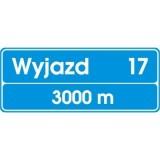 E-20 Tablica węzła drogowego na autostradzie. nformuje o zbliżaniu się do wyjzdu z autostrady; liczby umieszczone na znaku wskazują: górna - numer wyjazdu, dolna - odległość tablicy od wyjazdu; zamiast liczby wskazującej numer wyjazdu na znaku może być podana nazwa węzła