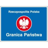 F-2a Granica państwa. Informuje o miejscu przekroczenia granicy Rzeczpospolitej Polskiej