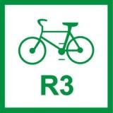 R-2 Szlak rowerowy międzynarodowy. Oznacza przebieg szlaku rowerowego międzynarodowego o numerze wskazanym na znaku