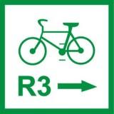 R-2a Zmiana kierunku szlaku rowerowego międzynarodowego. Oznacza przebieg szlaku rowerowego międzynarodowego o numerze wskazanym na znaku