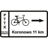 R-3 Tablica szlaku rowerowego. Wskazuje odległość do głównych miejscowości położonych przy szlaku rowerowy