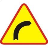 A-1 Niebezpieczny zakręt w prawo. Ostrzega o niebezpiecznym zakręcie w prawo (jeden zakręt w prawo)