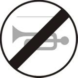 B-30 Koniec zakazu używania sygnałów dźwiękowych. Oznacza koniec obowiązywania zakazu zarządzonego znakiem B-29